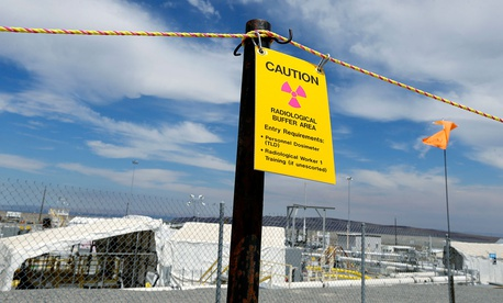 "Sign warning of radioactivity at the ""C"" tank farm at the Hanford."