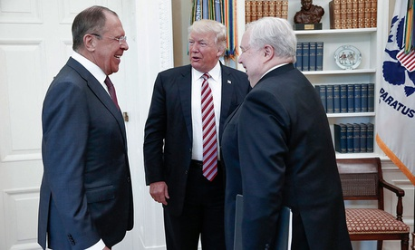 President Donald Trump meets with Russian Foreign Minister Sergey Lavrov, left, next to Russian Ambassador to the U.S. Sergei Kislyak at the White House in Washington, Wednesday, May 10.