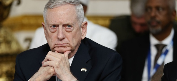 Secretary of Defense James Mattis listens during a National Security session at the 2017 Somalia Conference in London on May 11.