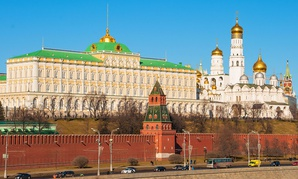 The Kremlin sits near the bank of the Mosvka River.