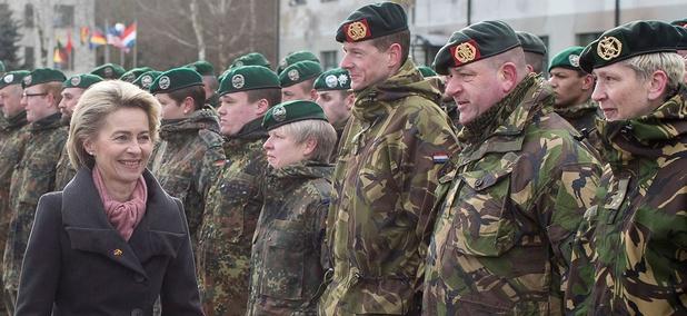 German Defense Minister Ursula von der Leyen attend a NATO enhanced forward presence battalion welcome ceremony in Lithuania.