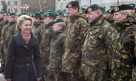 German Defense Minister Ursula von der Leyen attend a NATO enhanced forward presence battalion welcome ceremony in Lithuania.