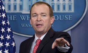 OMB Director Mick Mulvaney briefed reporters on the detailed version of the budget on Monday.