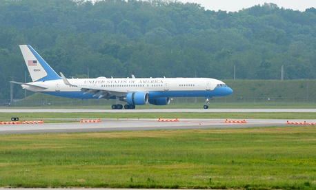 Air Force Two arrives at Wright-Patterson Air Force Base on May 20.