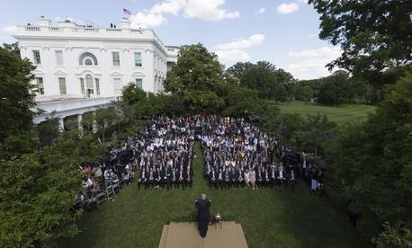 Donald Trump speaks in the White House Rose Garden on June 1.