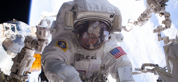 Astronaut Peggy Whitson is seen during a spacewalk during Expedition 50 aboard the International Space Station in January.