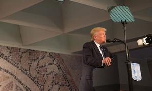 Trump speaks in Israel in May.