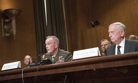 Marine Corps Gen. Joseph F. Dunford Jr., chairman of the Joint Chiefs of Staff, and Defense Department chief James N.  Mattis testify on Capitol Hill on the National Defense Authorization Budget Request in June.