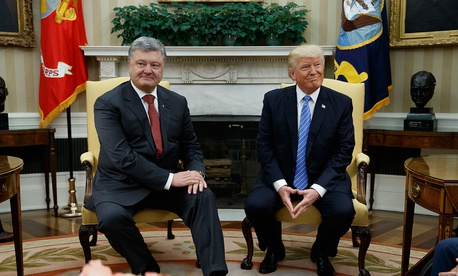 Donald Trump meets with Ukrainian President Petro Poroshenko in the Oval Office of the White House, Tuesday, June 20.