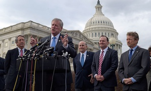 Rep. Mark Meadows speaks about health care during a news conference on March 7. He is joined by (from left) Reps. Mark Sanford and Louie Gohmert, and Sens. Mike Lee and Rand Paul.