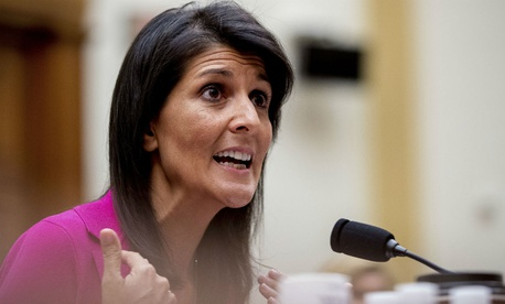 Nikki Haley, the U.S. ambassador to the United Nations, retweeted a Trump comment in support of a House candidate.
