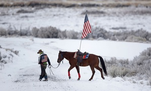 Duane Ehmer, an occupier of the Malheur Wildlife Refuge, walks his horse Hellboy on the site in October 2016.