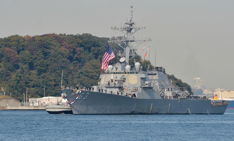 The Arleigh Burke-class guided-missile destroyer USS Stethem finishes a patrol in 2016.