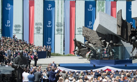 Trump speaks at at Krasinski Square at the Royal Castle in Warsaw on Thursday.