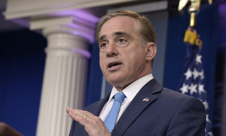 Veterans Affairs Secretary David Shulkin speaks during a briefing at the White House in May.