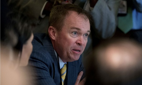 Budget Director Mick Mulvaney speaks during a Cabinet meeting in June.