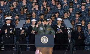 President Donald J. Trump speaks with Sailors in the hangar bay aboard Pre-Commissioning Unit Gerald R. Ford (CVN 78) in March.
