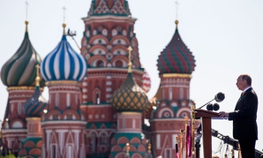 Vladimir Putin speaks during the Victory Day military parade marking 71 years after the victory in WWII in Red Square in Moscow, Russia, Monday, May 9, 2016.