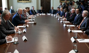 President Trump meets with his Cabinet at the White House Monday.