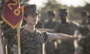 Marine Corps Rct. Rihanna N. Shihadeh, Platoon 4028, Papa Company, 4th Recruit Training Battalion, does a close-order drill movement during an evaluation Aug. 2, 2017, on Parris Island, S.C.