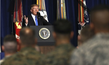 President Donald Trump speaks at Fort Myer in Arlington Va., on Aug. 21.