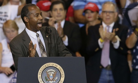 Ben Carson speaks at a rally for President Trump in Arizona Tuesday.