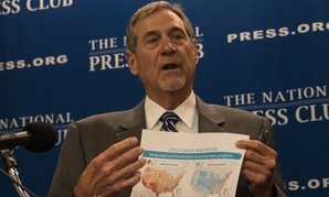 John Thompson, former director of the US Bureau of the Census speaks about his recent resignation at a National Press Club press conference on July 27.