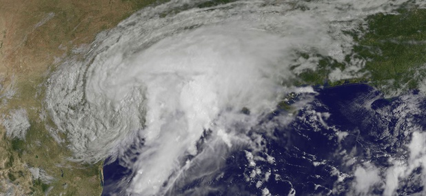 Hurricane Harvey is shown over Texas on Sunday, Aug. 27.
