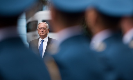 Mattis meets with Ukraine's Defense Minister Stepan Poltorak in Kyiv on Aug. 24.