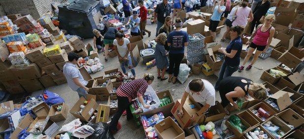 Donated items sit in a loading dock in Dallas as volunteers organize the items for Hurricane Harvey victims Aug. 29.
