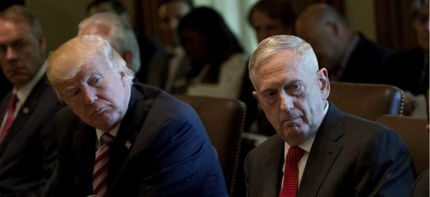 President Donald Trump and Defense Secretary Jim Mattis attend a Cabinet meeting June 12.