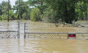 Highlands Acid Pit Superfund site in Texas. Normally, its toxic waste is cordoned off.