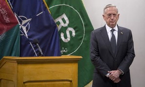 Secretary of Defense Jim Mattis and U.S. Army Gen. John Nicholson, commander of Resolute Support, host a joint press conference at the Resolute Support Headquarters in Kabul in April.