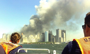 Coast Guard rescue team from Sandy Hook, NJ, races to the scene of the World Trade Center terrorist attack.