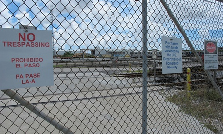 The Miami Drum Services Superfund cleanup site in a fenced off area behind a rail yard days before Hurricane Irma hit Florida.
