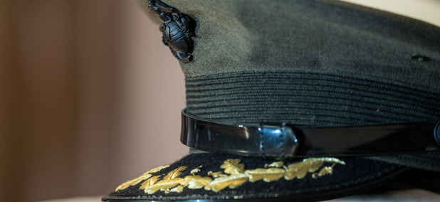 A service hat representing the U.S. Marine Corps on display at an Agriculture Department Veterans Day ceremony in 2013.