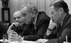 Secretary of State Dean Rusk, President Lyndon Johnson and Secretary of Defense Robert McNamara.
