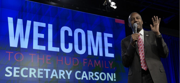Housing a Urban Development Secretary Ben Carson speaks to HUD employees in Washington on March 6.