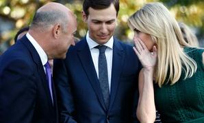 White House chief economic adviser Gary Cohn, left, White House senior adviser Jared Kushner, center, and Ivanka Trump confer in September.