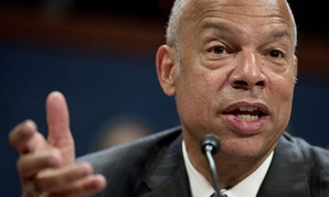 Former Homeland Security Secretary Jeh Johnson testifies to the House Intelligence Committee task force on Capitol Hill