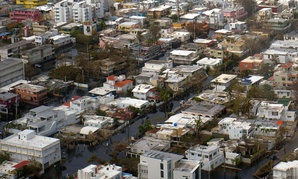 An aerial photograph shows flood waters in San Juan on Sept. 27.