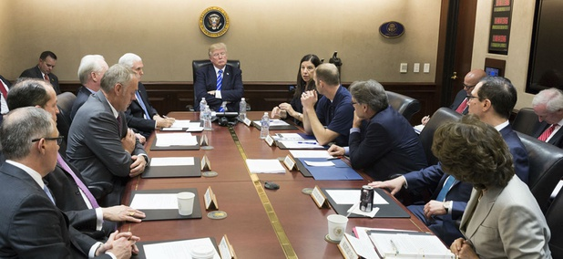 President Trump meets with his Cabinet on Sept. 26. HHS secretary Tom Price has since resigned in the wake of a scandal over his use of private jets at taxpayers' expense.