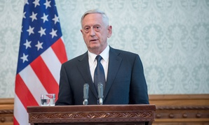Mattis speaks at the Presidential Palace in Afghanistan on Sept. 27.