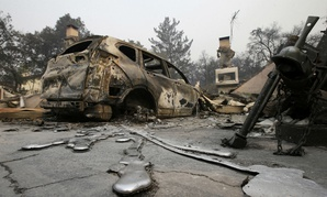 A car destroyed by the fires near Napa, California.