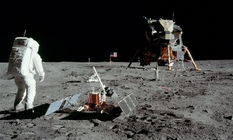 Astronaut Buzz Aldrin is shown on the surface of the moon during the Apollo 11 extravehicular activity.