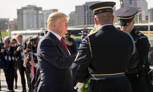 Donald Trump lays a wreath at the Pentagon Memorial before a 9/11 Observance Ceremony at the Pentagon.