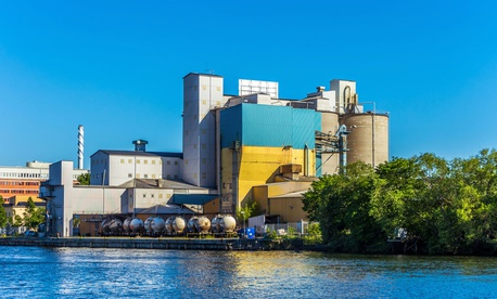 A cement factory in southern Stockholm is shown.