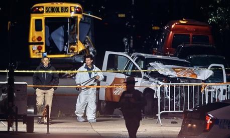 Police work near the scene of the event Tuesday night.