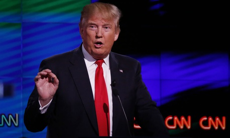 Trump speaks at a CNN debate in 2016 in Florida.