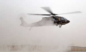 UH-60 Blackhawk helicopter lands during hot and cold load training in Iraq in October.